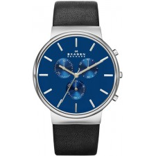 Мужские часы Skagen SKW6105 Ancher Leather Chronograph