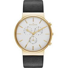 Мужские часы Skagen SKW6143 Ancher Leather Chronograph