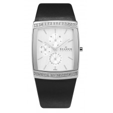 Женские часы Skagen 656LSLB Leather Rectangular